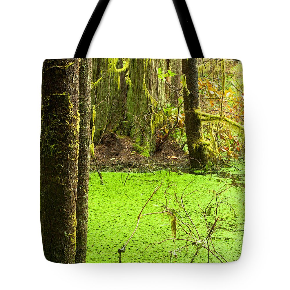 Adventure Tote Bag featuring the photograph Rainforest Wetland Wildernis Of West Coast Bc by Stephan Pietzko