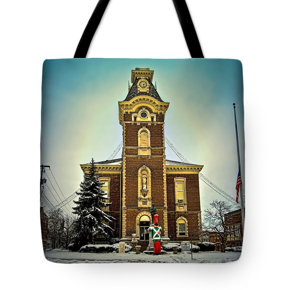 Raintree County Tote Bag featuring the photograph Raintree County Courthouse by Mark Orr