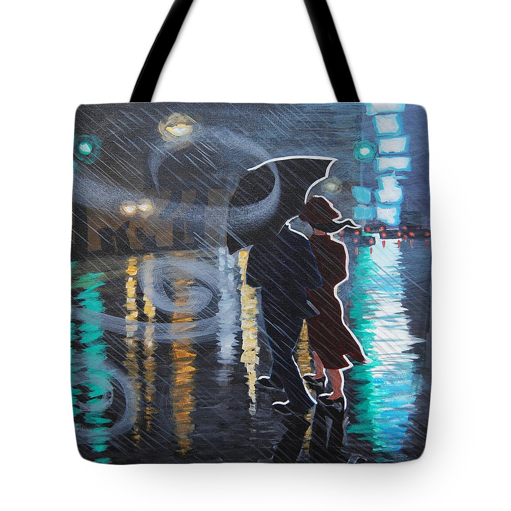 Rain Tote Bag featuring the painting Rainy City Street by Tommy Midyette