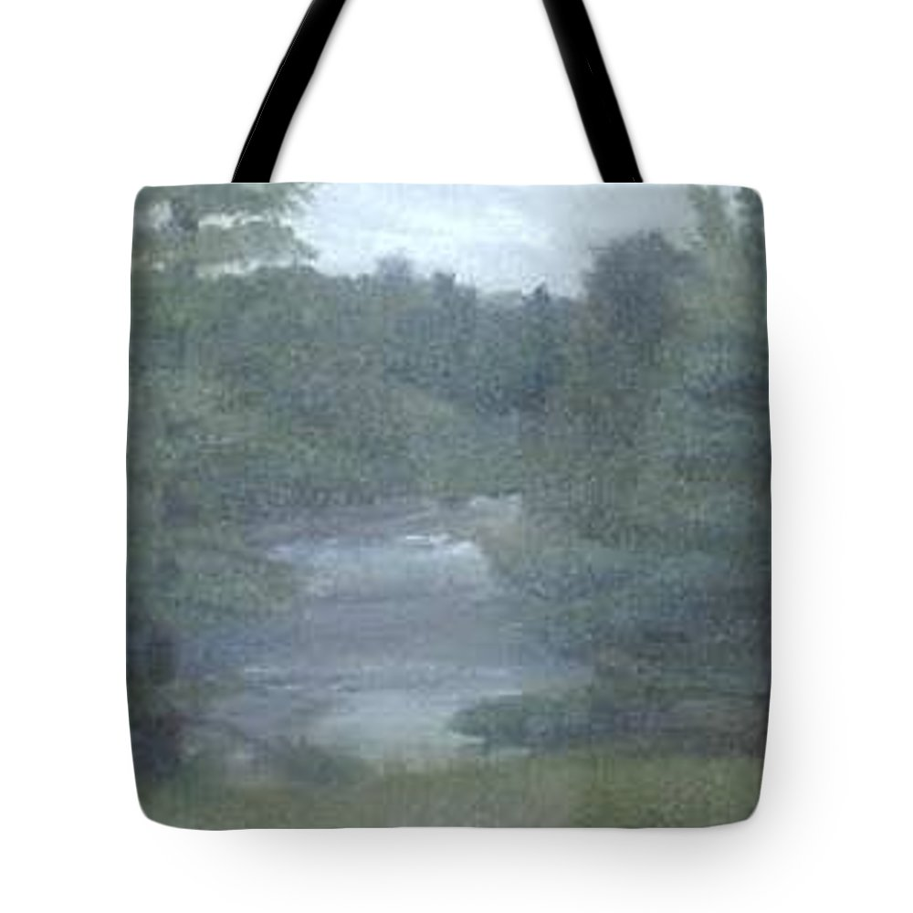 Rainy Tote Bag featuring the painting Rainy Day Plein Aire by Sheila Mashaw