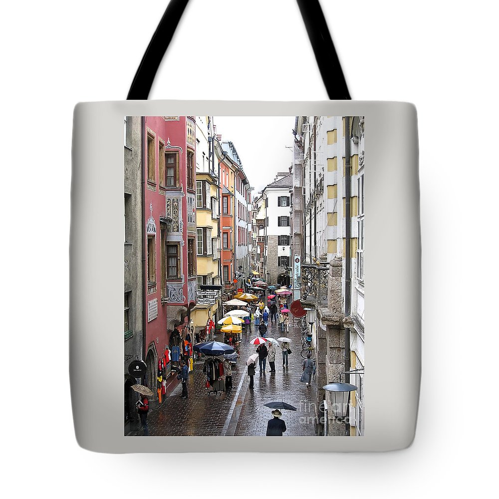 Innsbruck Tote Bag featuring the photograph Rainy Day Shopping by Ann Horn