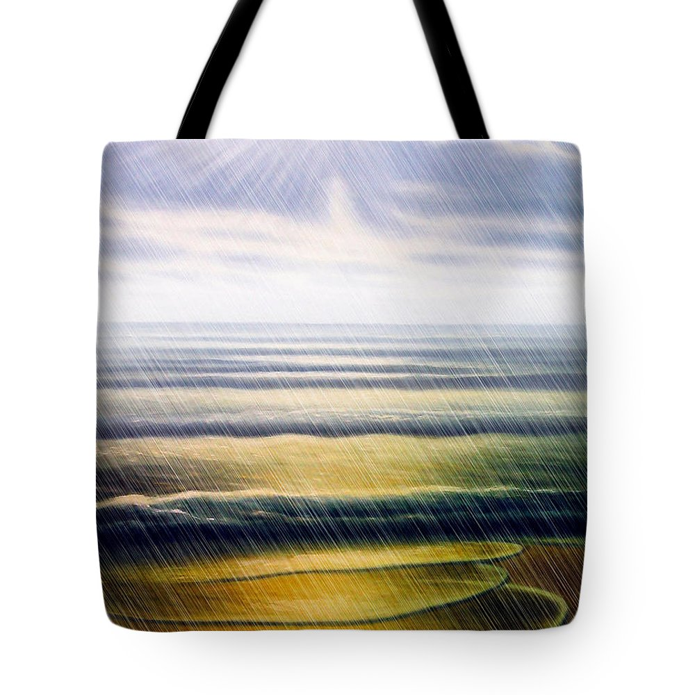 Seascape Tote Bag featuring the painting Rainy Seascape by Algirdas Lukas