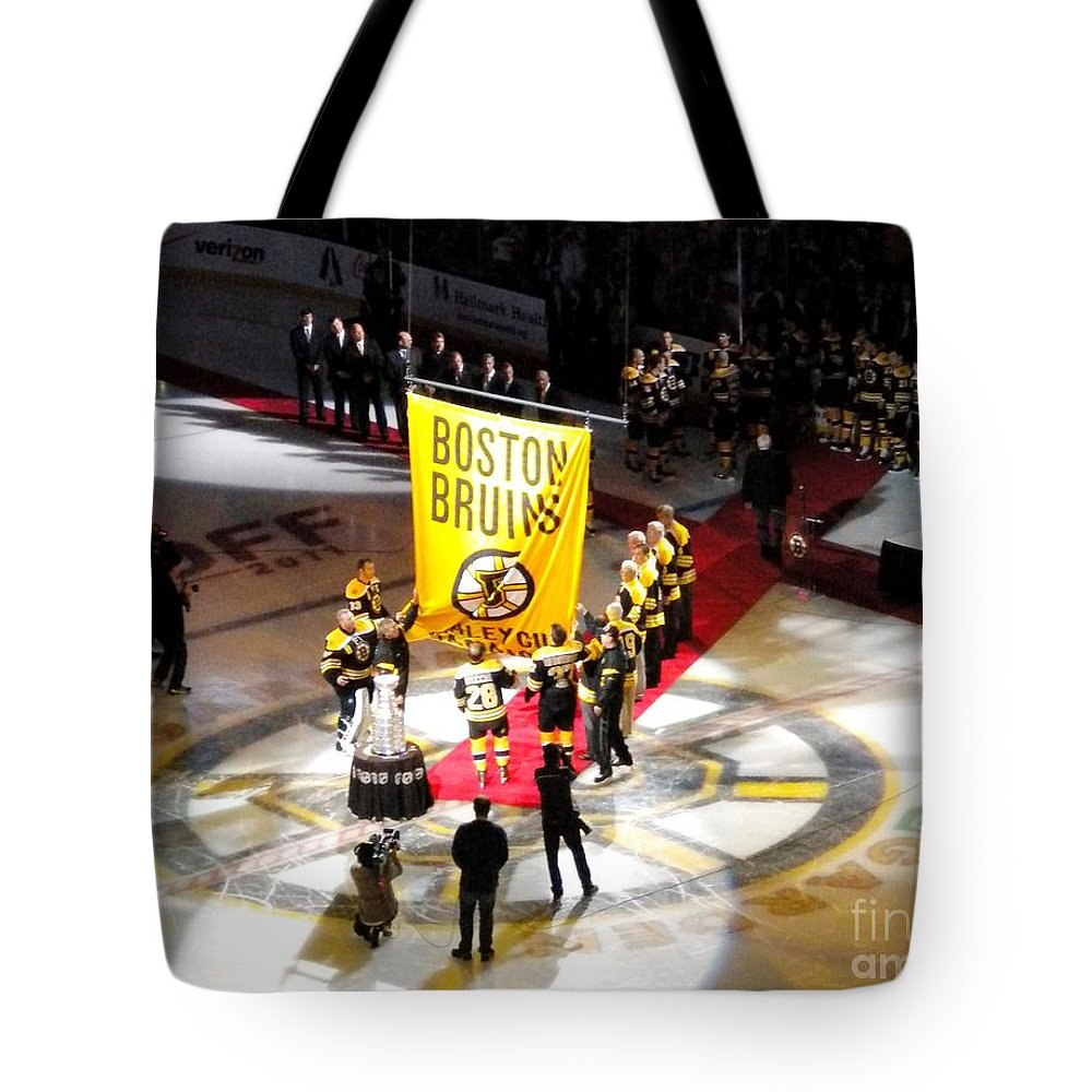 Boston Bruins Tote Bag featuring the photograph Raising The Banner by Lisa Kilby