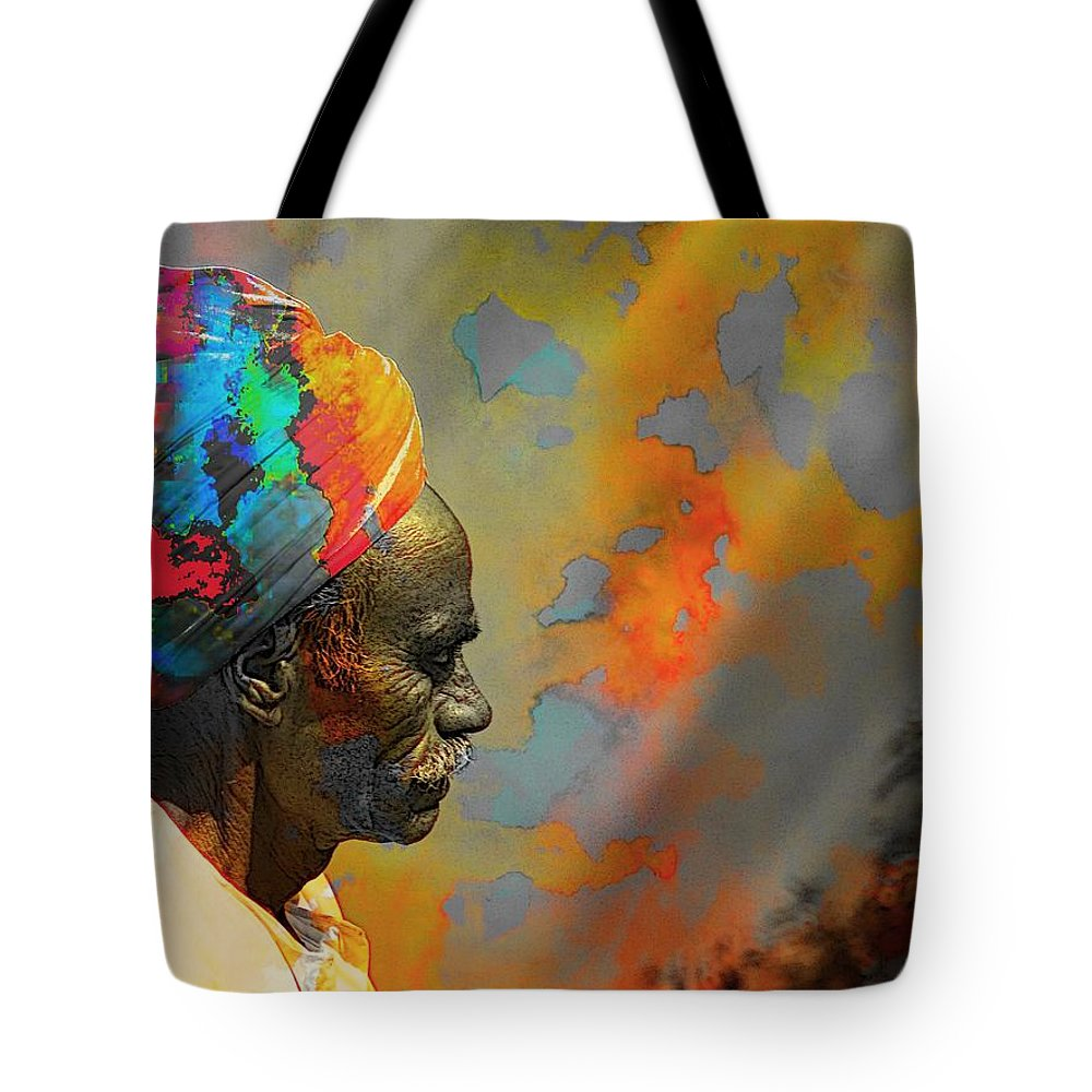 Rajasthani Farmer Tote Bag featuring the photograph Rajasthani Farmer Rural Indian Turban by Sue Jacobi