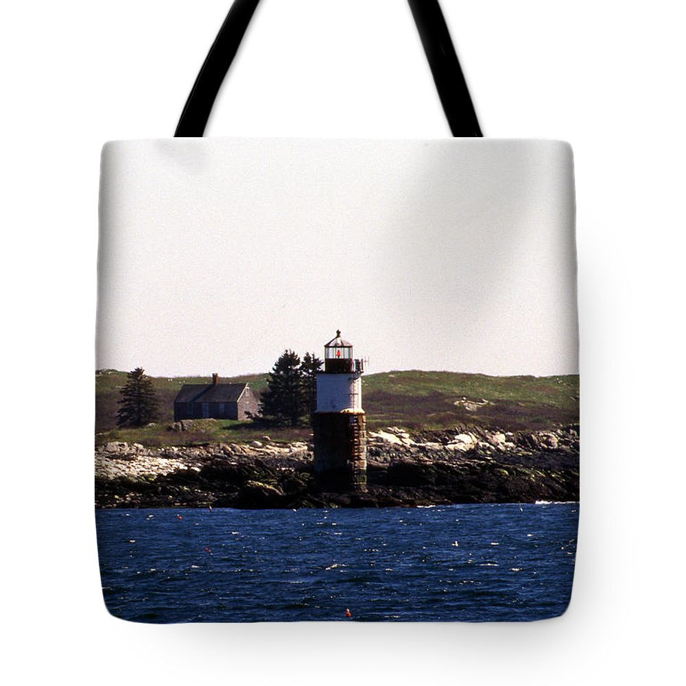 Lighthouses Tote Bag featuring the photograph Ram Island Lighthouse In Maine by Skip Willits