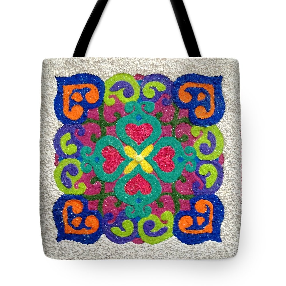 Rangoli Tote Bag featuring the mixed media Rangoli Made With Powder Colour by Asha Aditi Ruparelia