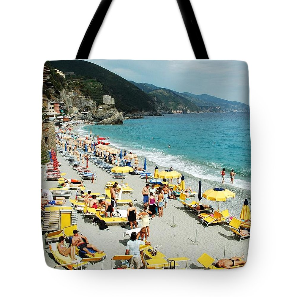 Italy Tote Bag featuring the photograph Rapallo Beach by Allen Beatty