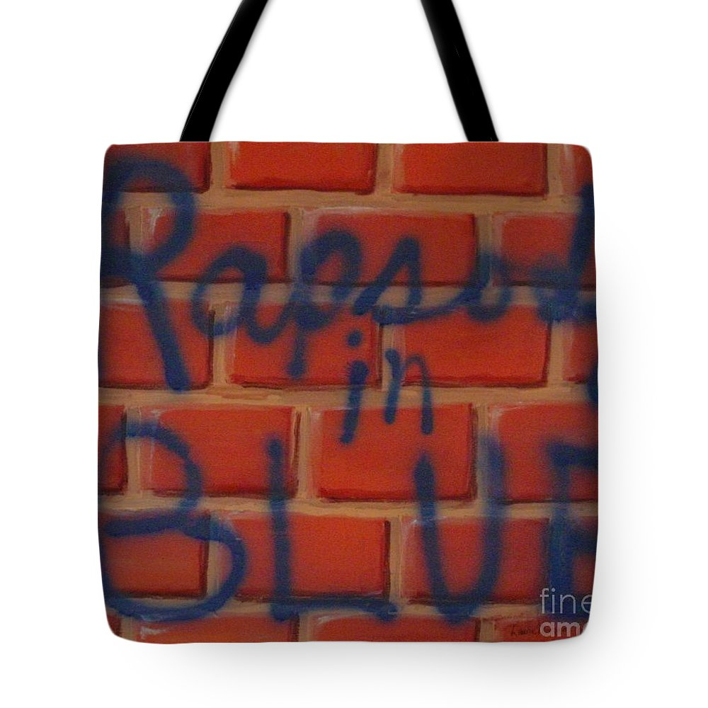 Abstract Tote Bag featuring the painting Rapsody In Blue by Laurie Morgan