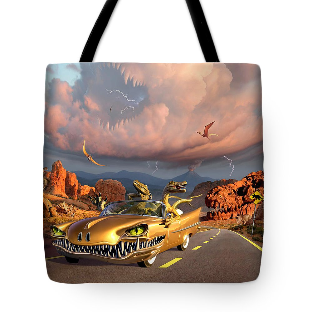 Dinosaurs Tote Bag featuring the digital art Rapt Patrol by Jerry LoFaro