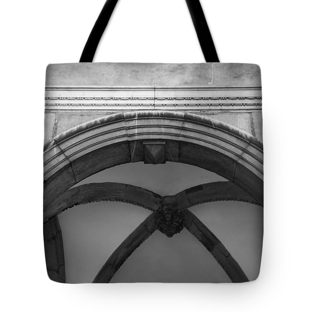 2014 Tote Bag featuring the photograph Rathaus Arch Bw Cologne Germany by Teresa Mucha