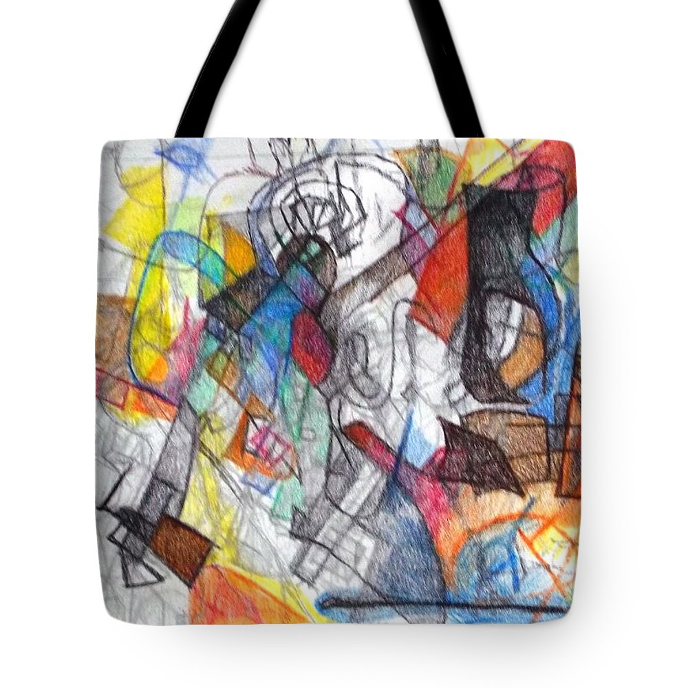 Abstract Art Tote Bag featuring the drawing tribute to the Ramchal  by David Baruch Wolk