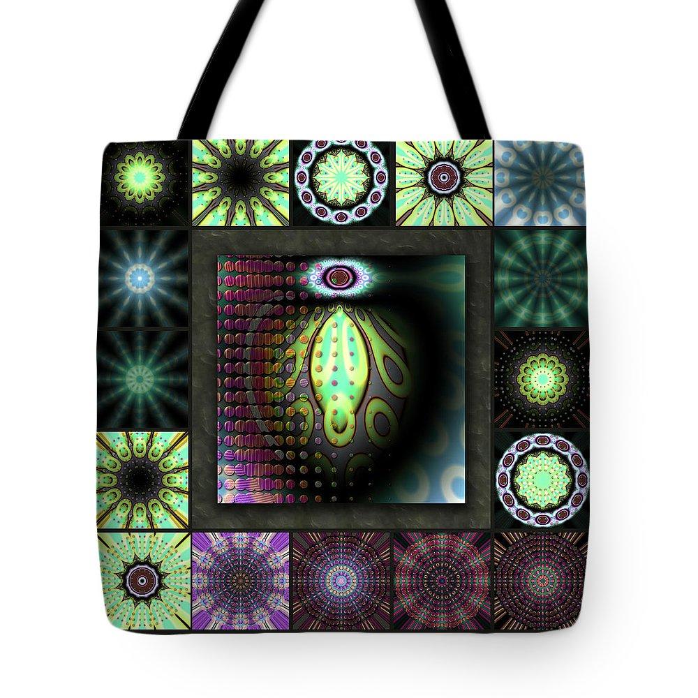 Green Tote Bag featuring the digital art Ravaged Visions Redux by Ann Stretton