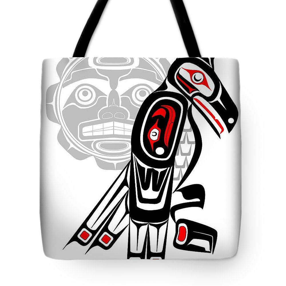 Haida Point Art Tote Bag featuring the drawing Raven Moon Totem by Fred Croydon