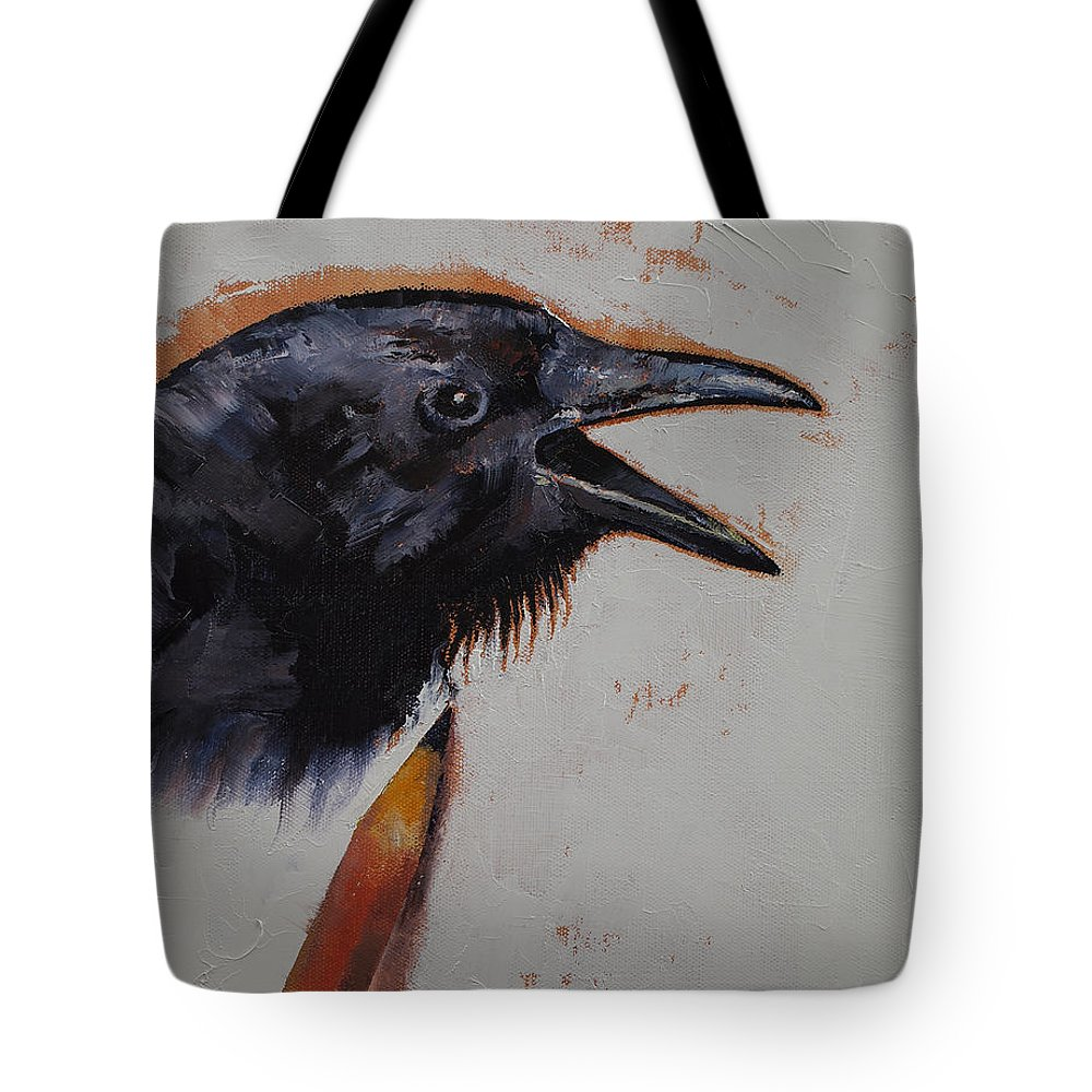 Raven Tote Bag featuring the painting Raven Sketch by Michael Creese
