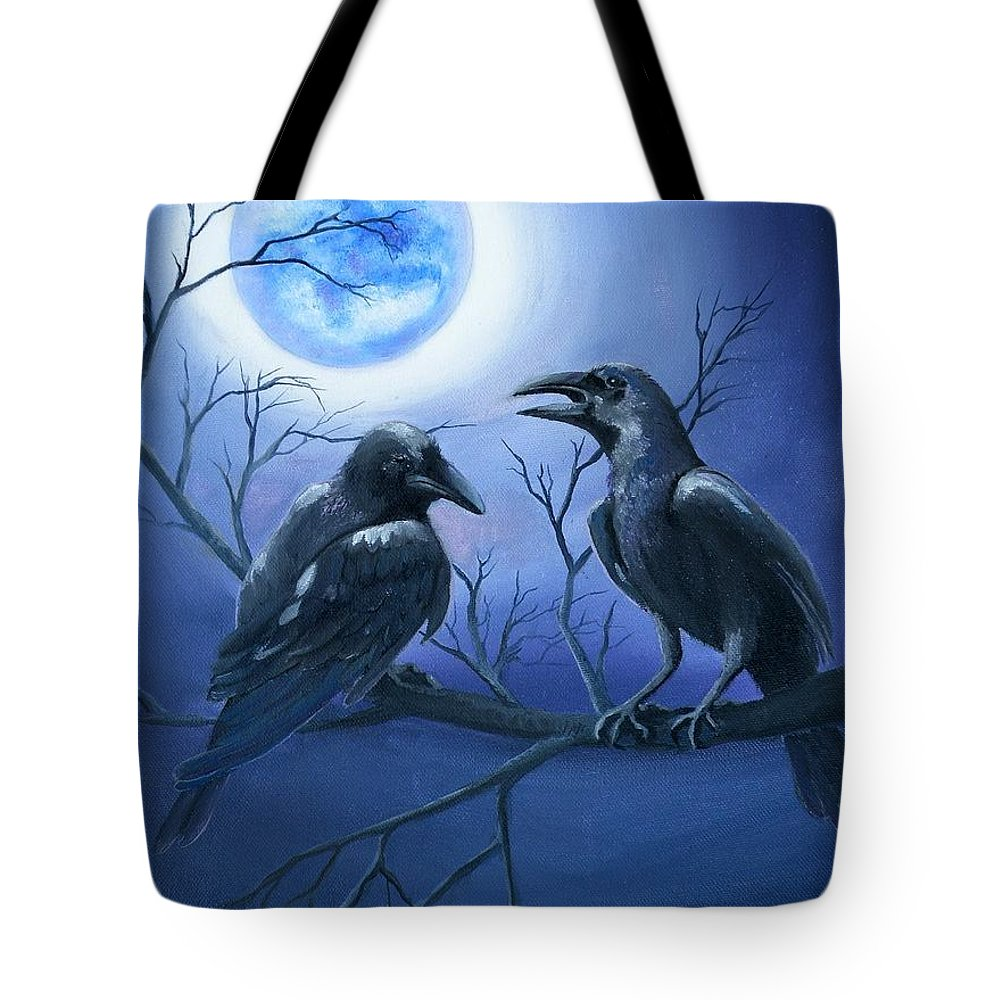 Ravens Tote Bag featuring the painting Raven's Moon by Lora Duguay