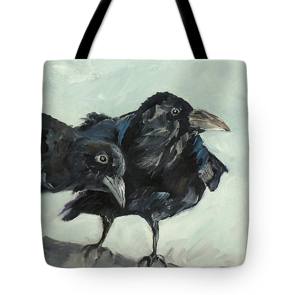 Ravens Tote Bag featuring the painting Raven's Perch by Saundra Lane Galloway