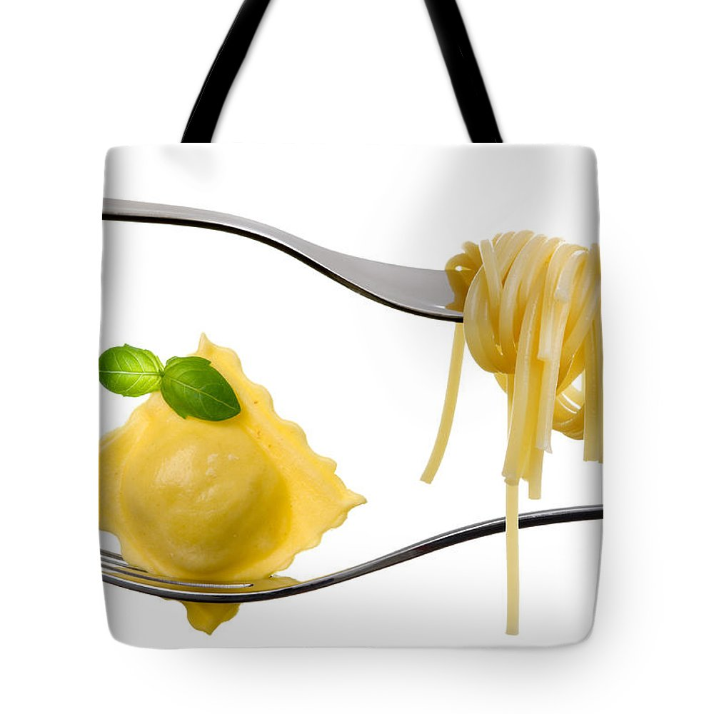Pasta Tote Bag featuring the photograph Ravioli Pasta Parcel And Spaghetti On Fork White Background by Lee Avison