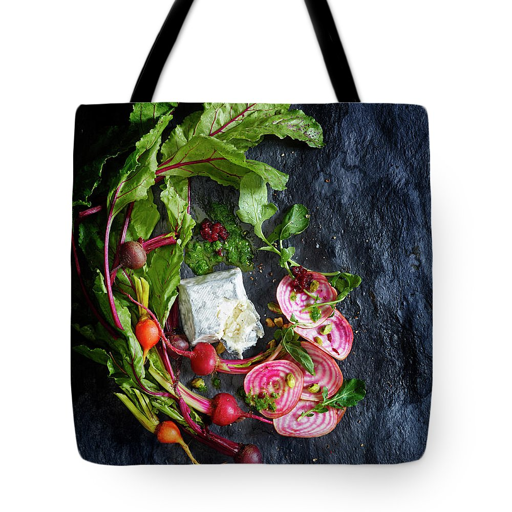Cheese Tote Bag featuring the photograph Raw Beeet Salad Ingredients by Annabelle Breakey