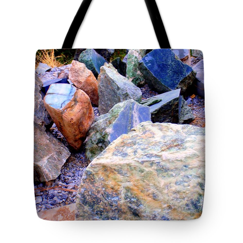 Jade Tote Bag featuring the photograph Raw Jade Rocks by Mary Deal