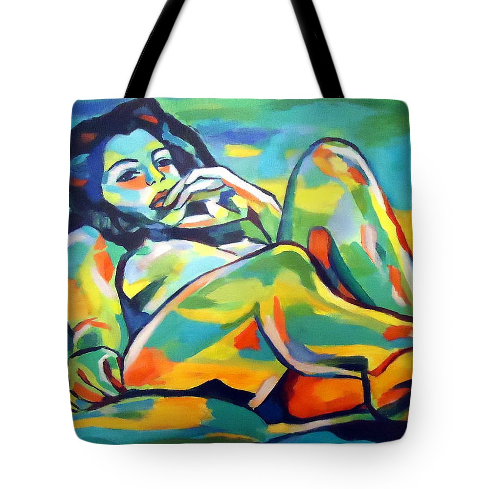Nude Figures Tote Bag featuring the painting Raw Light Spills by Helena Wierzbicki