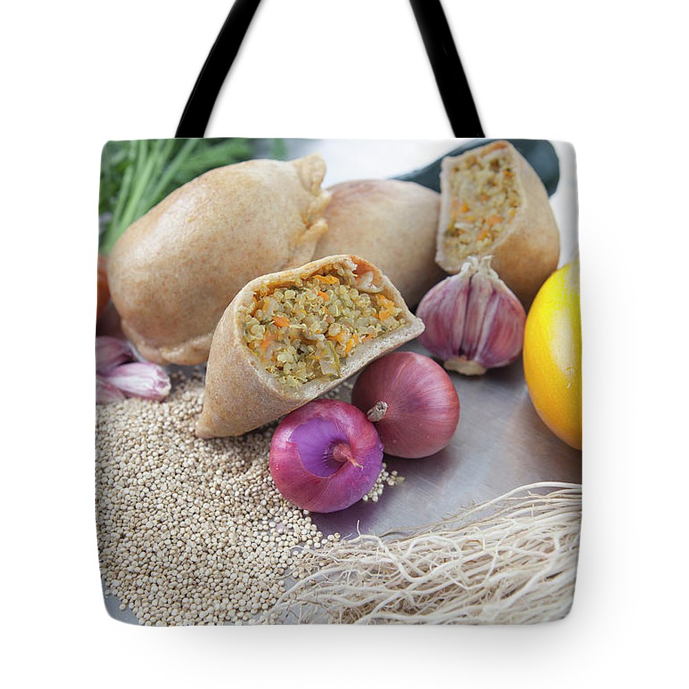 Healthy Eating Tote Bag featuring the photograph Raw Vegetables With Cooked Pastries by Laurie Castelli