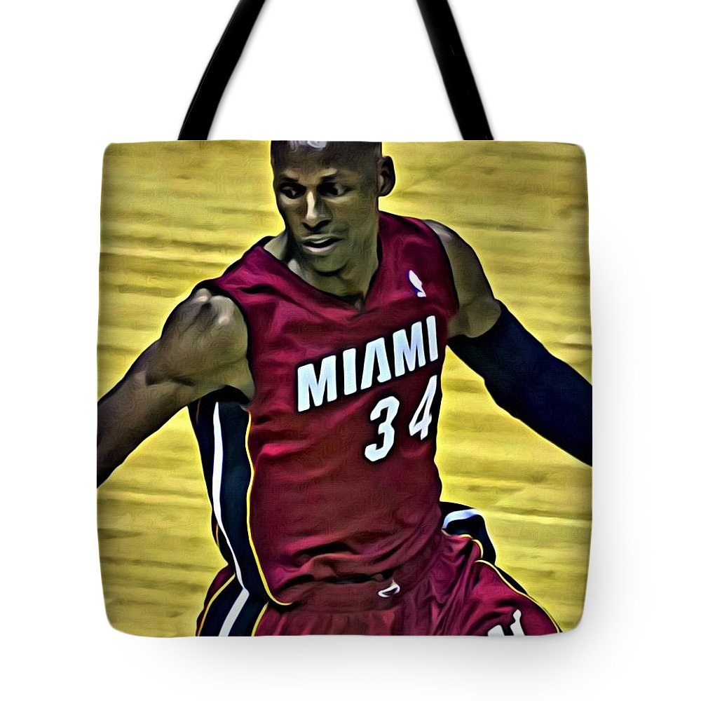 Ray Allen Tote Bag featuring the painting Ray Allen Portrait by Florian Rodarte