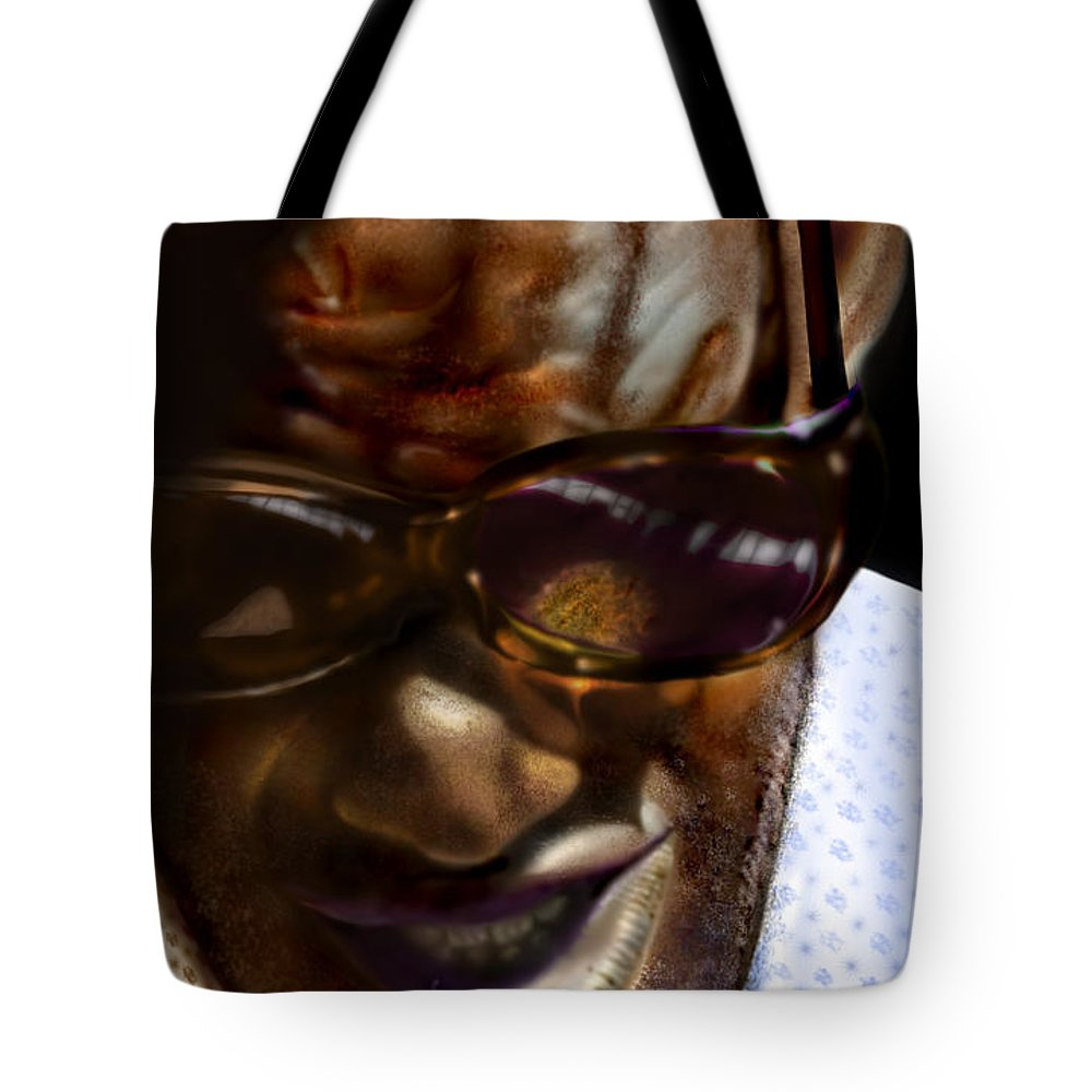 Ray Charles Tote Bag featuring the painting Ray Charles-beyond Sight 2 by Reggie Duffie
