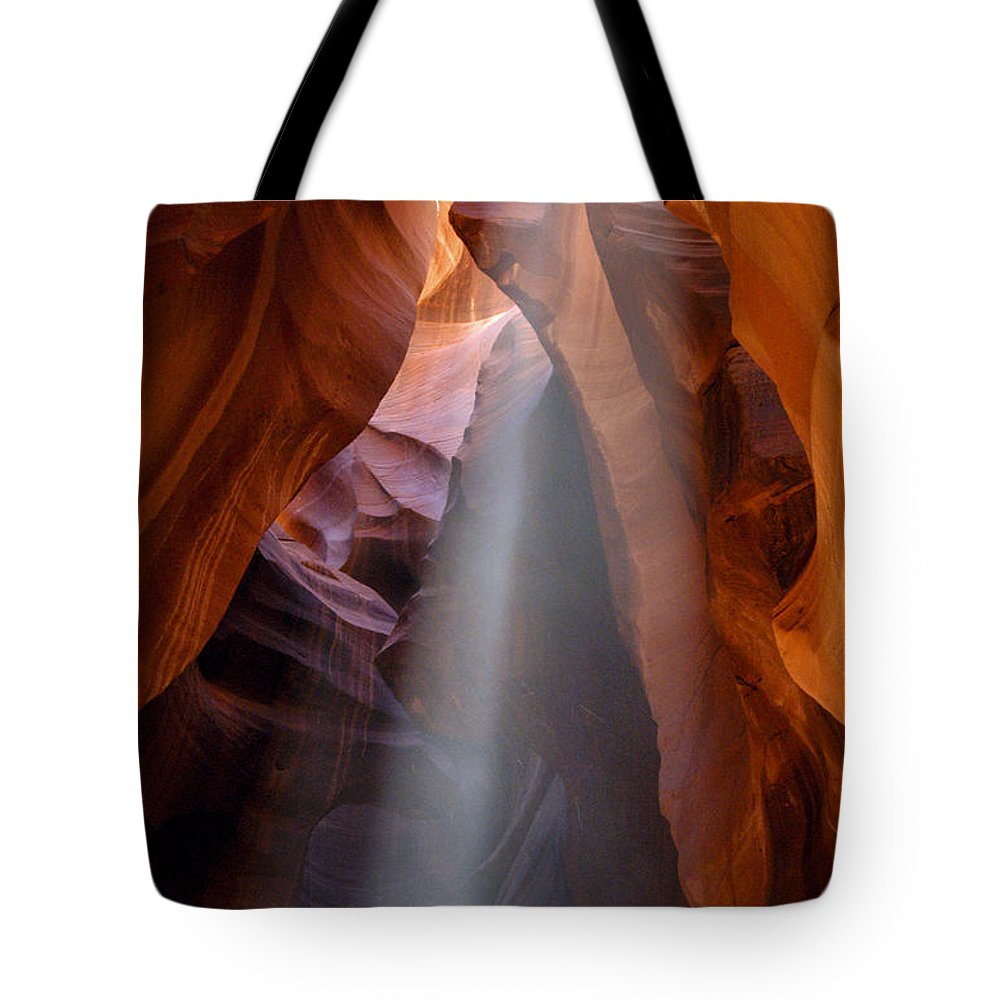 Upper Antelope Slot Canyon Page Arizona Canyons Rock Formation Formations Sunbeam Sunbeams Ray Rays Cave Caves Cavern Caverns Tote Bag featuring the photograph Ray Of Sunshine by Bob Phillips