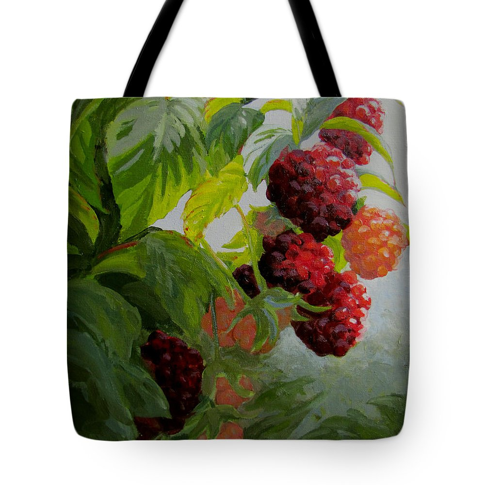 Berries Tote Bag featuring the painting Razzleberries by Karen Ilari