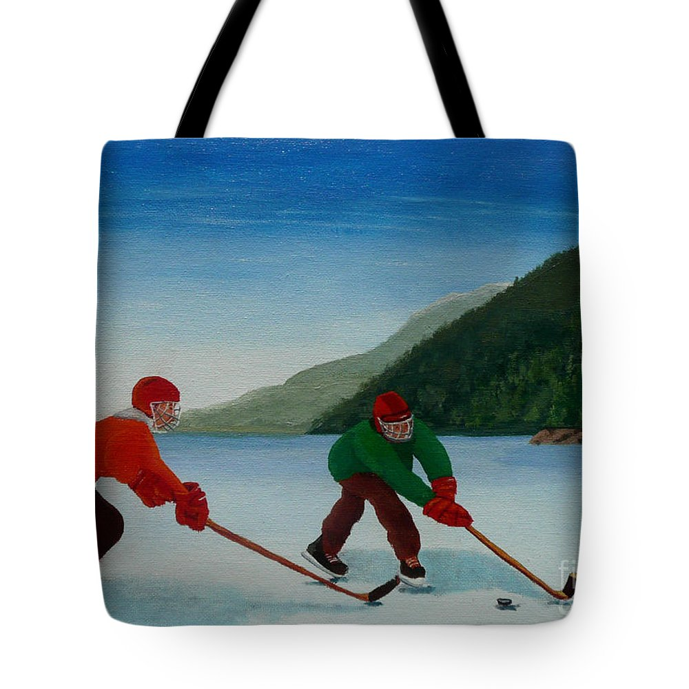 Pond Tote Bag featuring the painting Reach For It by Anthony Dunphy