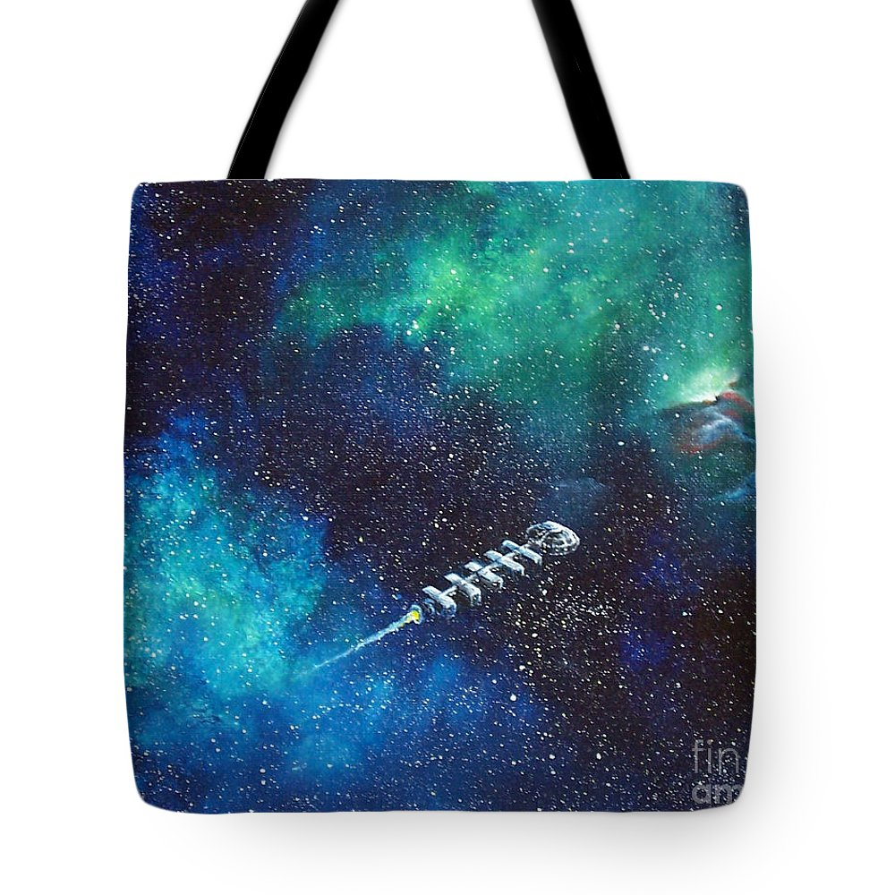 Spacescape Tote Bag featuring the painting Reaching Out by Murphy Elliott