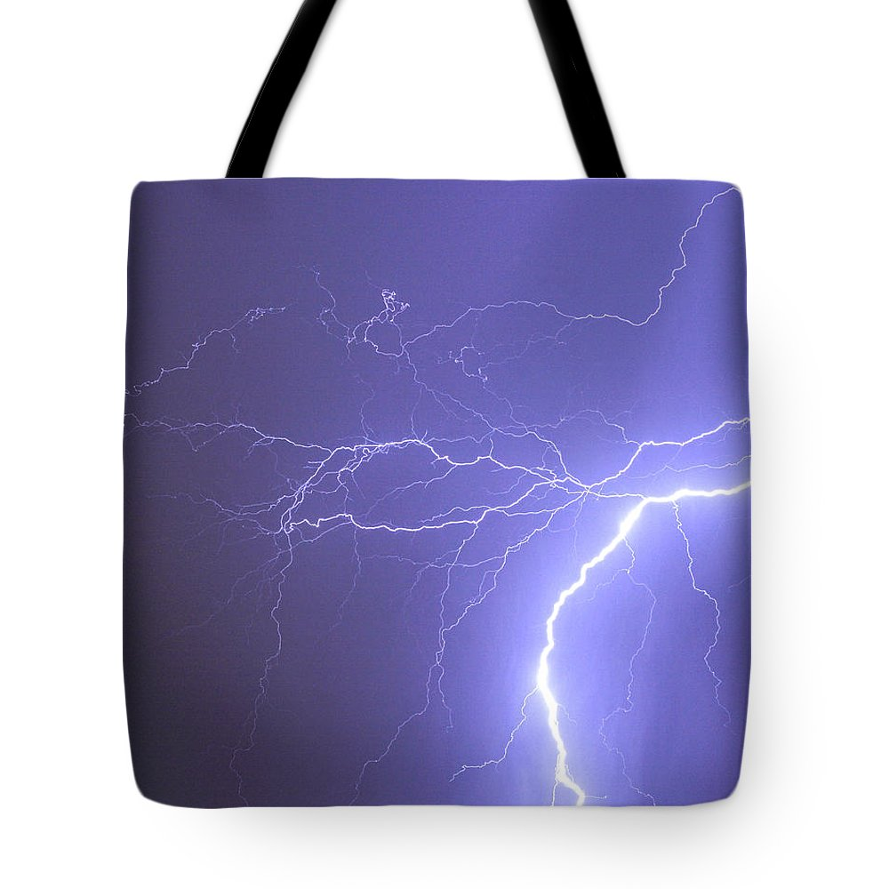 Lightning Tote Bag featuring the photograph Reaching Out Touching Me Touching You by James BO Insogna