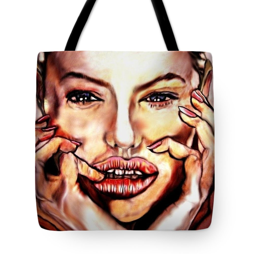 Read My Lips Tote Bag featuring the painting Read My Lips by Herbert Renard