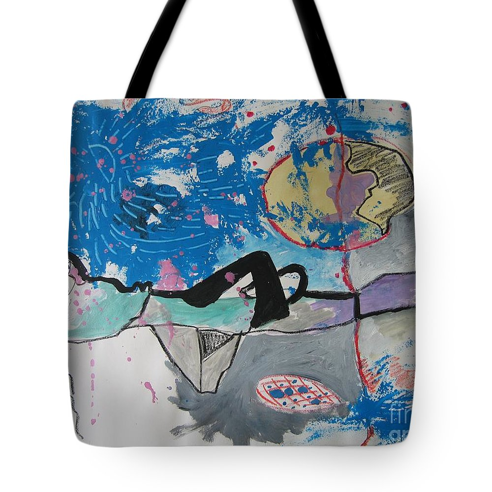 Abstract Paintings Tote Bag featuring the painting Read My Mind2 by Seon-Jeong Kim