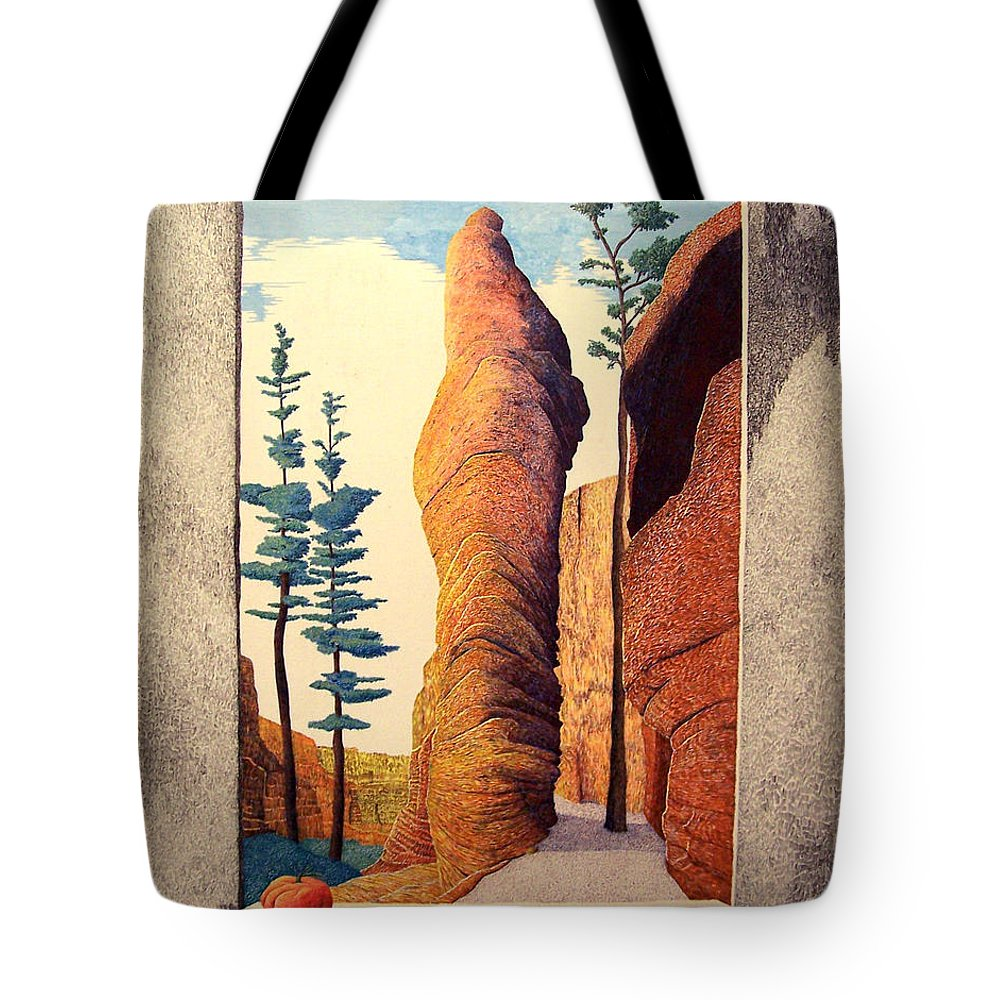 Landscape Tote Bag featuring the painting Reared Window by A Robert Malcom