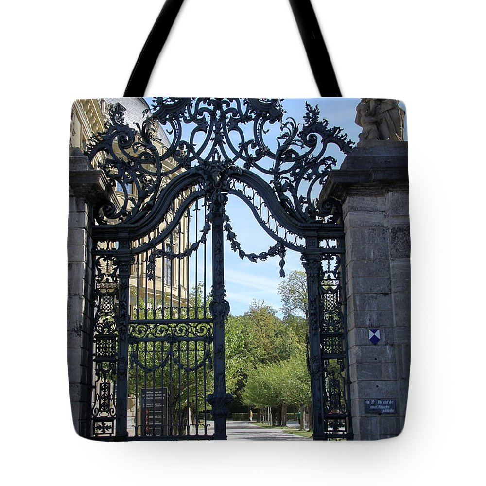Gate Tote Bag featuring the photograph Recidence Garden Gate - Wuerzburg by Christiane Schulze Art And Photography