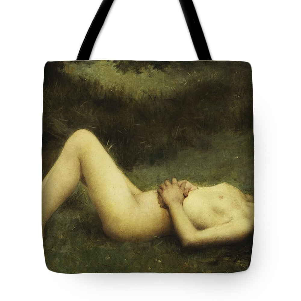 19th Century Tote Bag featuring the painting Reclining Nude by Louis Courtat