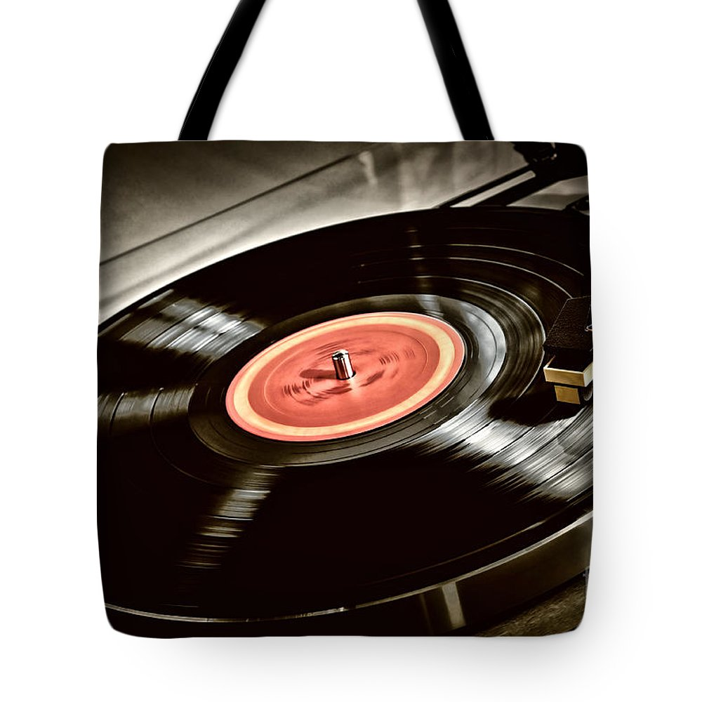 Vinyl Tote Bag featuring the photograph Record On Turntable by Elena Elisseeva