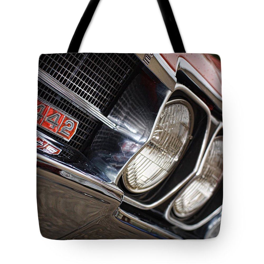Red Tote Bag featuring the photograph Red 1966 Olds 442 by Gordon Dean II