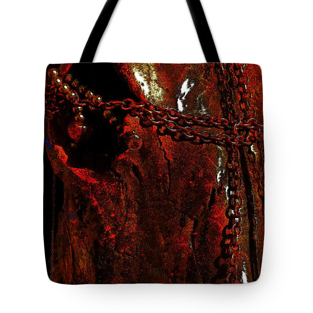 Photographs Tote Bag featuring the photograph Red Abstract by Mayhem Mediums