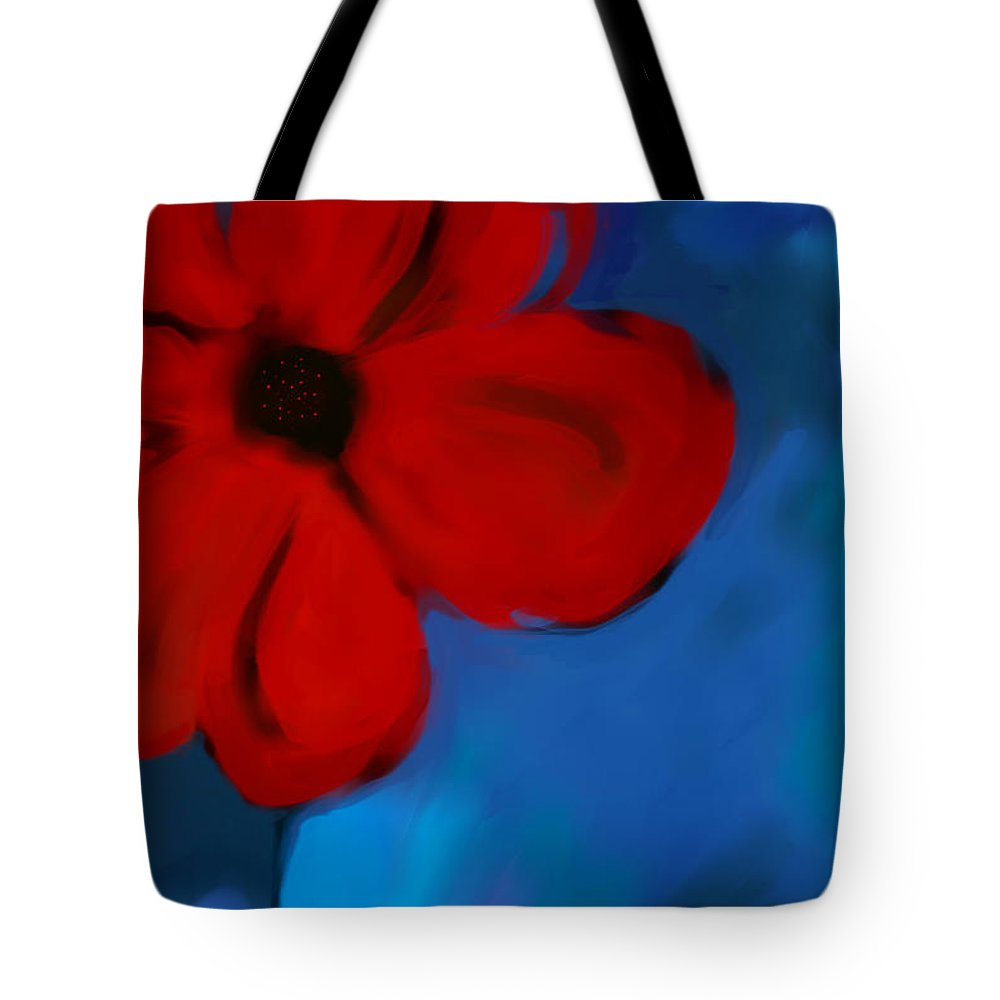 Flower Tote Bag featuring the digital art Red And Blue -flower -art by Ann Powell