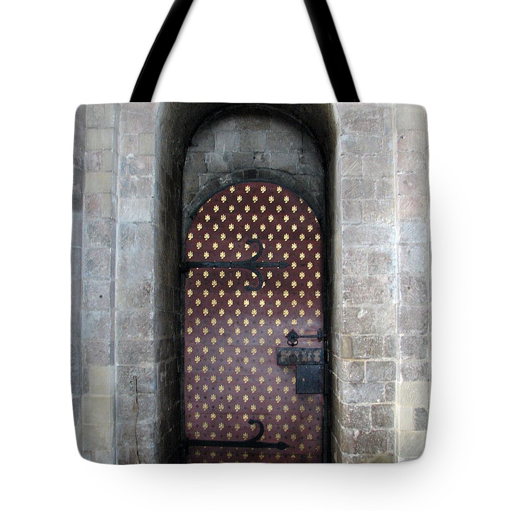 Door Tote Bag featuring the photograph Red And Gold Door by Stephanie Grant