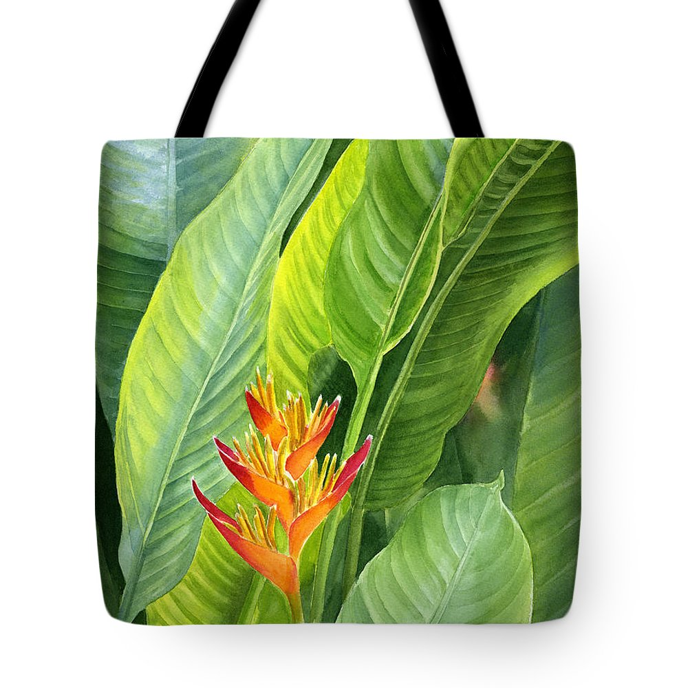 Red Tote Bag featuring the painting Red And Gold Heliconia by Sharon Freeman