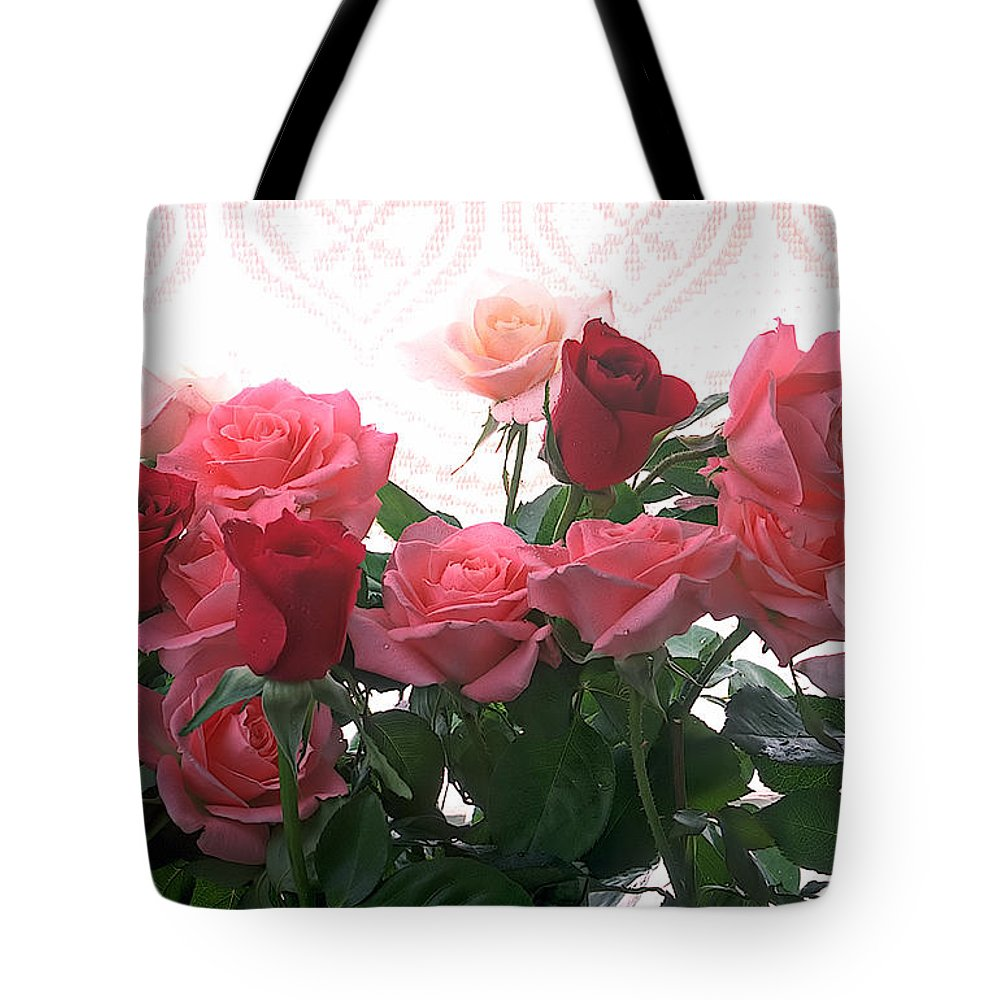 Rose Tote Bag featuring the photograph Red And Pink Roses In Window by Garry Gay