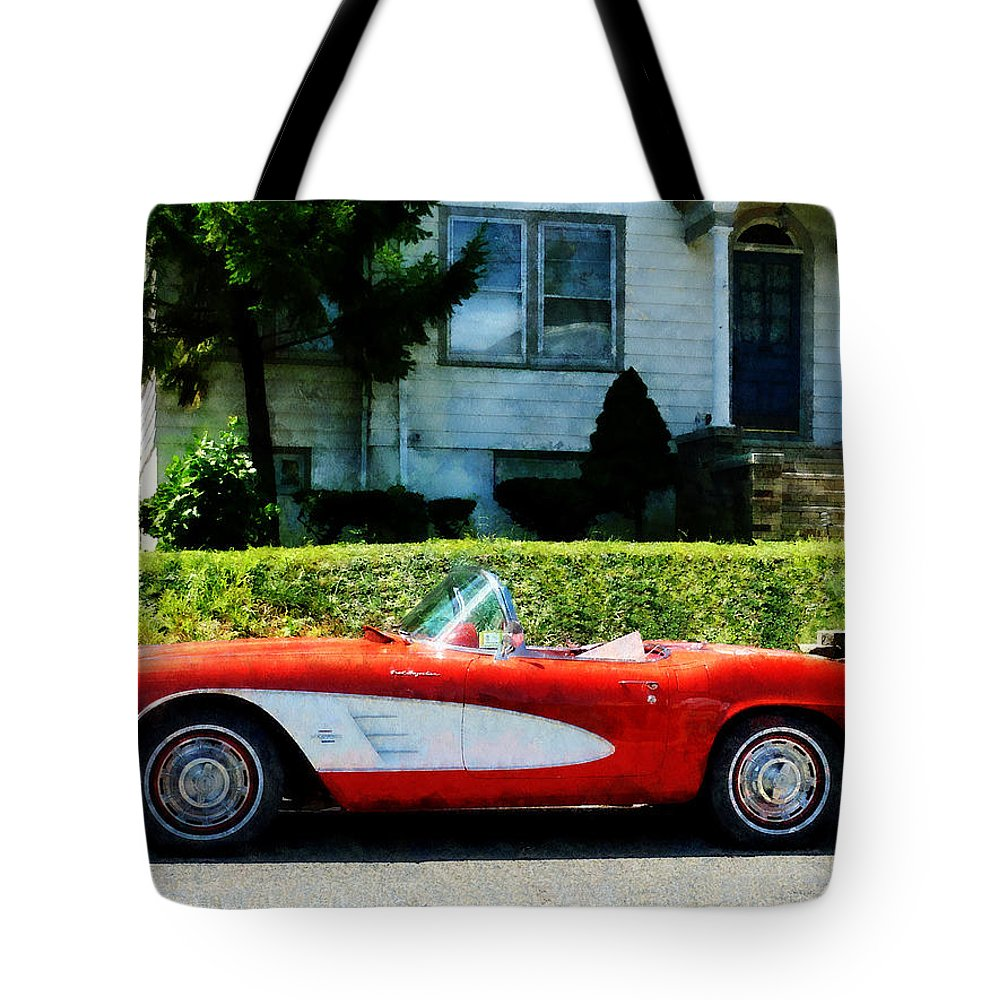 70a2f60fdf9c Car Tote Bag featuring the photograph Red And White Corvette Convertible by  Susan Savad