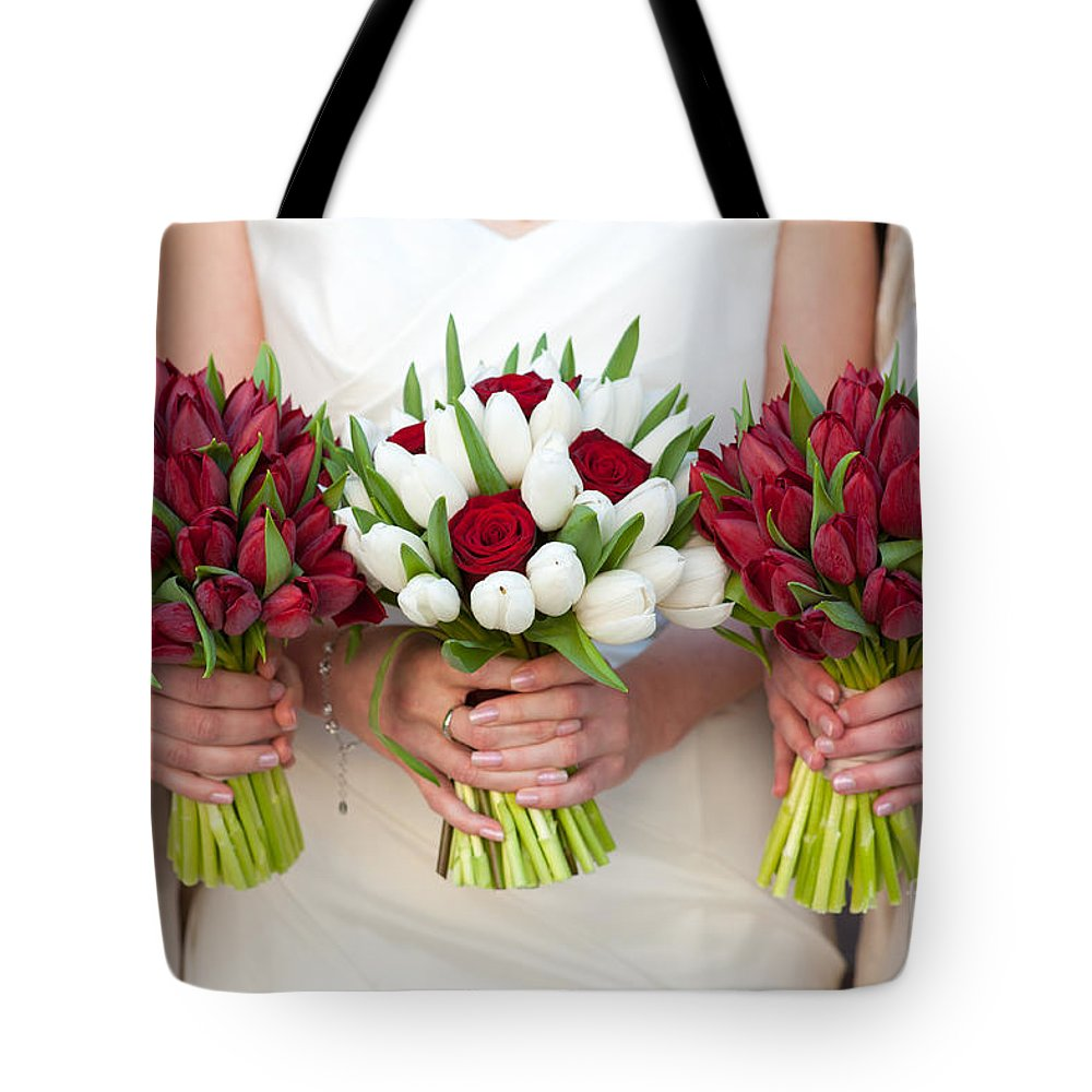 Red And White Tulip And Rose Wedding Bouquets Tote Bag For Sale By