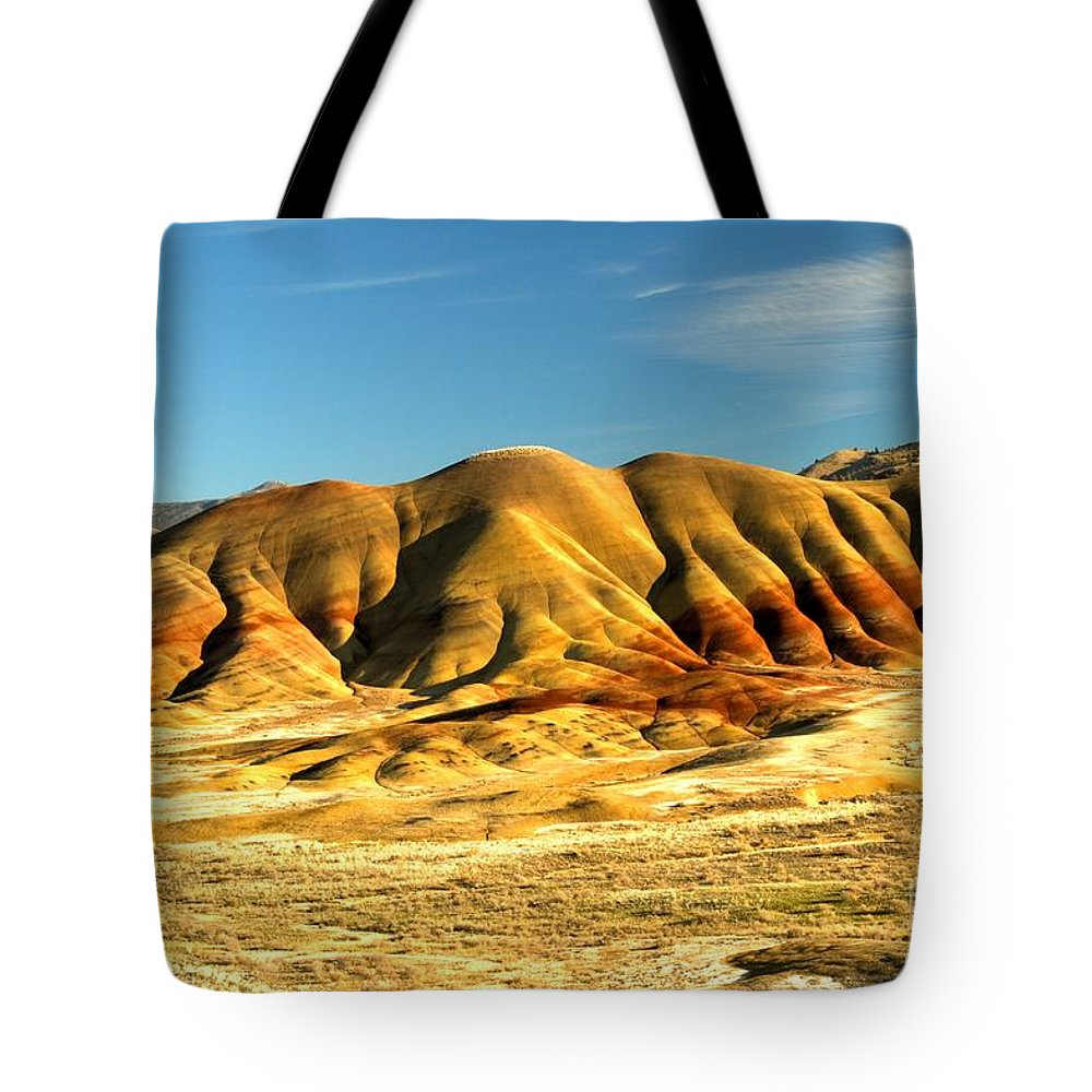 Painted Hills Tote Bag featuring the photograph Red And Yellow Painted Hills by Adam Jewell