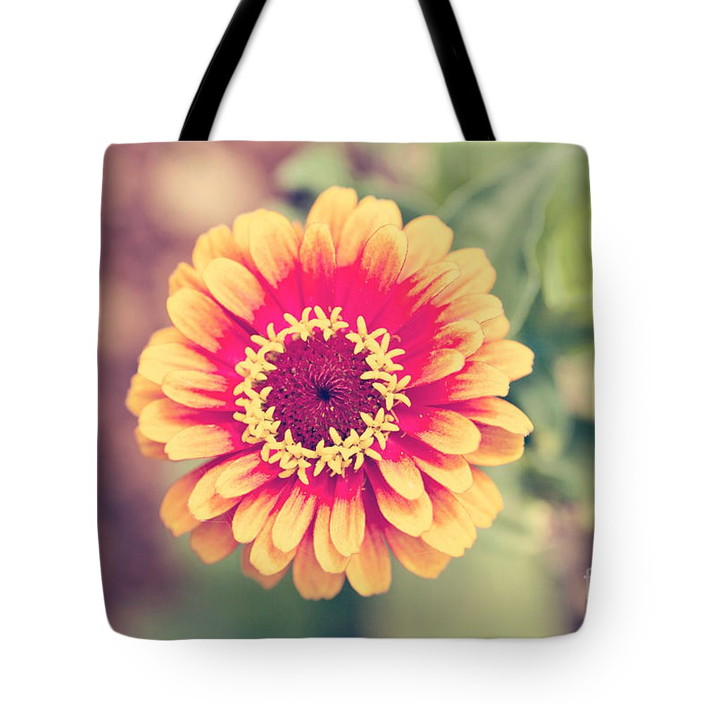 Flower Tote Bag featuring the photograph Red And Yellow Zinnia II by Erin Johnson