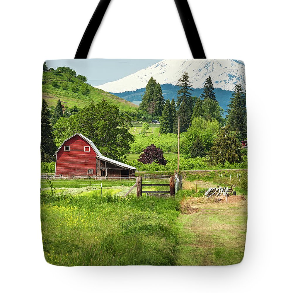Scenics Tote Bag featuring the photograph Red Barn Green Farmland White Mountain by Fotovoyager