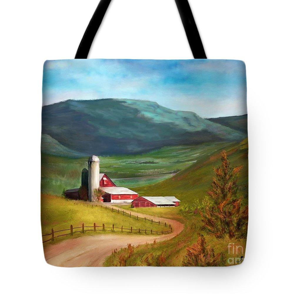Red Barn Tote Bag featuring the painting Red Barn Hillside Farm by Judy Filarecki